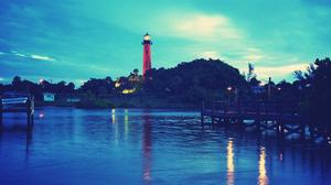 Sea Landscape Trees Lighthouse Dock 1920x1080 Wallpaper