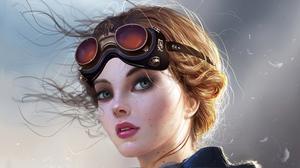 Blue Eyes Face Girl Goggles Orange Hair Woman 3840x2160 Wallpaper