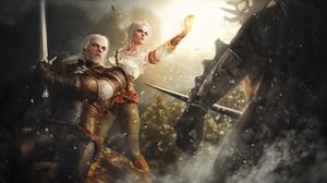 Ciri The Witcher Geralt Of Rivia Sorcerer Sword The Witcher 3 Wild Hunt Warrior White Hair 2560x1440 Wallpaper