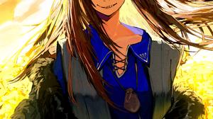 Spice And Wolf Blue Shirt Grin Long Hair Blunt Bangs Wolf Girls Orange Eyes Fangs Animal Ears Black  2480x3508 Wallpaper
