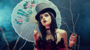 Black Hair Blue Eyes Girl Gothic Lipstick Parasol Top Hat Woman 1920x1080 Wallpaper
