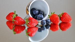 Blueberry Fruit Reflection Strawberry 4500x3000 Wallpaper