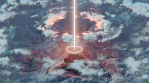 Clouds Beacon Mountain Top Laser Digital Art Nature Pyramid 1920x1080 Wallpaper