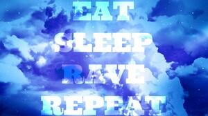 Blue Clouds Rave EDM Dancing Cyan Typography Stars 1440x900 Wallpaper