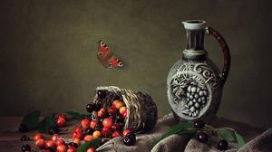 Basket Butterfly Cherry Pitcher Still Life 1920x1536 Wallpaper