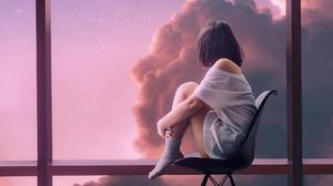 Digital Art Pink Window Clouds Socks 3840x2160 Wallpaper