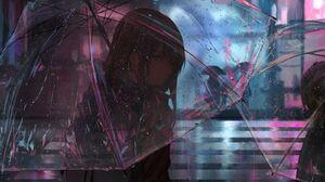 Anime Anime Girls Schoolgirl Brunette Long Hair Bangs Brown Eyes Rain Schoolbags Jacket City Night U 1600x1200 Wallpaper
