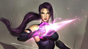Blue Eyes Marvel Comics Psylocke Marvel Comics Purple Hair 3505x1971 Wallpaper