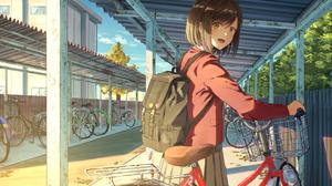 Bike Girl School Uniform Schoolgirl Short Hair Sunlight 2047x1447 Wallpaper