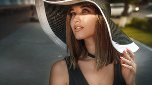 Daria Bliznyakova Face Girl Hair Hand Hat Makeup Portrait Style 2560x1707 Wallpaper