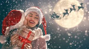 Child Santa Hat Girl Gift Woman 3750x2503 Wallpaper