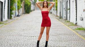 Women Model Women Outdoors Red Dress Legs 3600x2400 Wallpaper