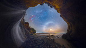 Cave Sea Nature Digital Art Sky Stars Outdoors Coast Beach 1920x1080 Wallpaper