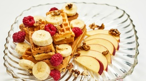 Raspberry Apple Banana Fruit Breakfast 2560x1708 Wallpaper