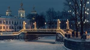 Winter Snow Bridge River Russia Night 1920x1280 Wallpaper