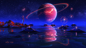Digital Art Stars Planet Water Lights Science Fiction 1920x1080 Wallpaper