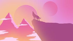 Minimalist Pink Wolf 1600x900 Wallpaper