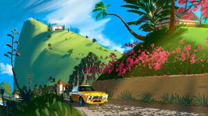 Clayton Johans Artwork Landscape Yellow Cars Car Flowers Fan Art Flowers Field Pink Flowers Digital  3840x2160 Wallpaper