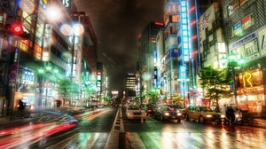 City Japan Light Night Road Tokyo 2560x1080 Wallpaper