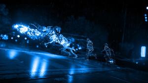 Hologram Night Rain Blue 1920x1080 Wallpaper