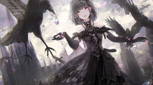 Anime Girls Anime Original Characters Crow Gloves Black Dress Jewel Missile228 1907x1206 Wallpaper