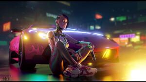 Yulin Li Drawing Cyberpunk Women Short Hair Weapon Cyborg Sneakers Car Pink Night 1920x1080 Wallpaper