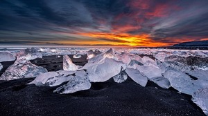 Clouds Landscape Ice Beach Sunset Black Sand Nature Winter 3840x2400 Wallpaper