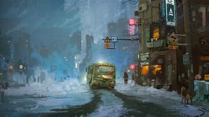 Ismail Inceoglu Digital Art Illustration Science Fiction Concept Art Car City Cyberpunk ArtStation 2500x1293 wallpaper