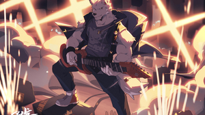 Furry Muscles Anthro Guitar Musical Instrument 3649x2440 Wallpaper