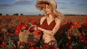 Women Outdoors Women Outdoors Field Agro Plants Plants Flowers Red Flowers Straw Hat Hat Women With  1920x1281 wallpaper