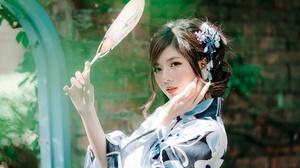 Brunette Depth Of Field Fan Girl Kimono Model Woman 2048x1366 Wallpaper