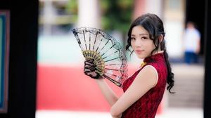 Asian Brown Eyes Brunette Depth Of Field Fan Girl Model Woman 2048x1366 Wallpaper