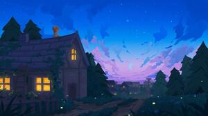 Gavryl Digital Art Clouds Cottage Moon Redhead Trees Ladder Road 1920x1080 Wallpaper