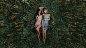 Women Two Women Blue Dress Pink Dress Barefoot Top View Painted Nails Smile Grass Blonde Brunette Wo 5179x2914 Wallpaper
