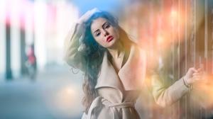 Brunette Coat Depth Of Field Girl Lipstick Long Hair Model Woman 5568x3712 Wallpaper