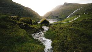 Faroe Islands Stream Landscape River Grass 5472x3648 Wallpaper