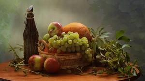 Fruit Apple Grapes 2955x1717 Wallpaper