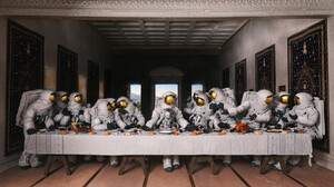 Artwork Fantasy Art Astronaut The Last Supper Parody 1920x1076 Wallpaper