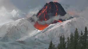 Mountains Clouds Landscape Snowy Mountain Volcano Lava Pine Trees Artwork 1600x1048 wallpaper
