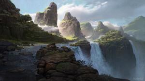 Moritz Lacusteanu Waterfall Mountains Jungle Landscape Digital Art SpellForce 3 Video Game Art Light 1920x1080 Wallpaper