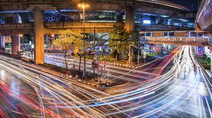 Lights Light Trails Road City Urban Photography Bridge Night Trees Traffic HDR Outdoors Pawel Olejni 2048x1331 Wallpaper