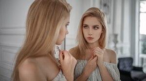 Women Blonde Face Mirror Reflection Bare Shoulders Dress Portrait Ksenia Kokoreva Yuriy Lyamin 1600x900 Wallpaper