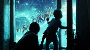 Boy Christmas Girl Night Stars Window Winter 5898x3581 Wallpaper