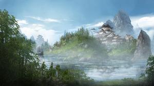 Boat Castle Landscape Oriental River 3000x1500 Wallpaper