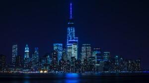 Architecture Blue Building City Manhattan New York Night Skyscraper 8192x5461 Wallpaper