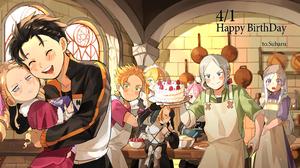 Re Zero Kara Hajimeru Isekai Seikatsu Kitchen Maid Outfit Apron Birthday Cake Strawberries Cooking B 3648x2052 Wallpaper