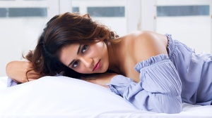 Model Women Red Lipstick Hands In Hair Blue Dress In Bed Actress Indian Model 2048x1365 wallpaper