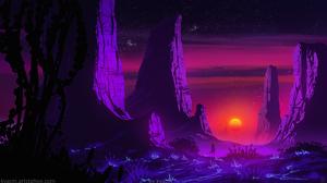 Kvacm Digital Art Illustration Sunset Rock Formation Night Stars Sky Mountains 1536x864 wallpaper