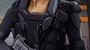Kev Art Elite Dangerous Commander Women Hologram Weapon 3045x5697 Wallpaper