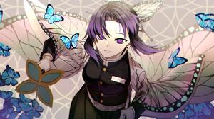 Kochou Shinobu Kimetsu No Yaiba Anime Girls Butterfly Japanese Clothes Katana 3840x2160 Wallpaper